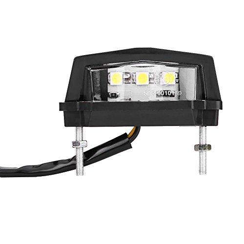 Qiilu 12V Universal Motorcycle Motorbike LED License Plate Light Rear Tail Lamp White