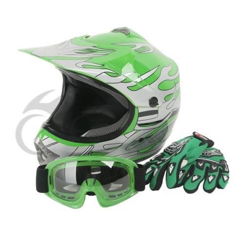 Tengchang Youth Kids Green Flame Dirt Bike ATV Motocross Offroad Helmet MXGogglesM
