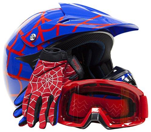 Youth Offroad Gear Combo Helmet Gloves Goggles DOT Motocross ATV Dirt Bike Motorcycle Blue Spiderman - XL
