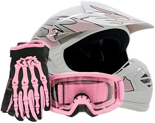 Youth Offroad Gear Combo Helmet Gloves Goggles DOT Motocross ATV Dirt Bike MX Motorcycle Pink - Medium