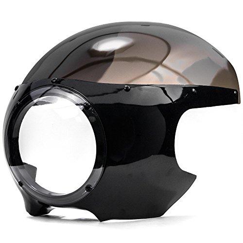 Krator Motorcycle 5-34 Headlight Fairing Screen Black Smoke Retro Cafe Racer Drag for Harley Davidson Dyna 1999-2011