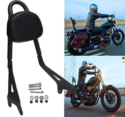 E-Most Detachable Driver Rider Sissy Bar Rear Passenger Pad W Leather Backrest Pad Luggage Rack for Yamaha Star Bolt XV950 XVS950 2014-2017