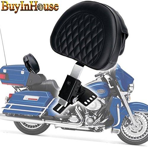 for 1997-2017 Harley Davidson Touring models New Detachable Adjustable│Driver Rider Backrest Sissy Bar│Diamond Stitching│Chrome Bracket Custom Made