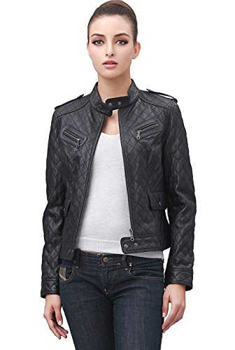 Cruzer Women's Quilted Lambskin Leather Motorcycle Jacket