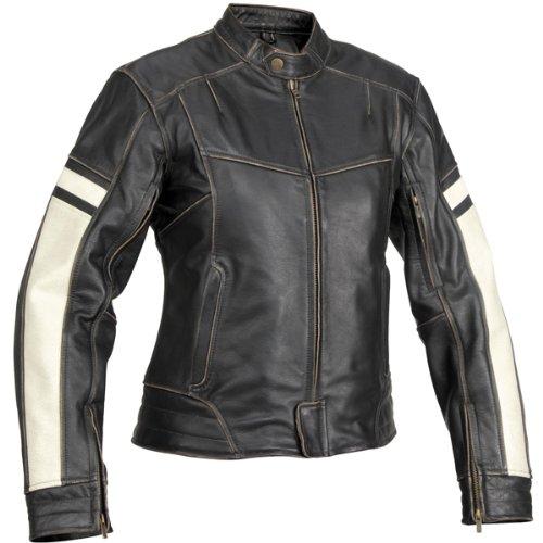 River Road Dame Women's Vintage Leather Cruiser Motorcycle Jacket - Black / Medium