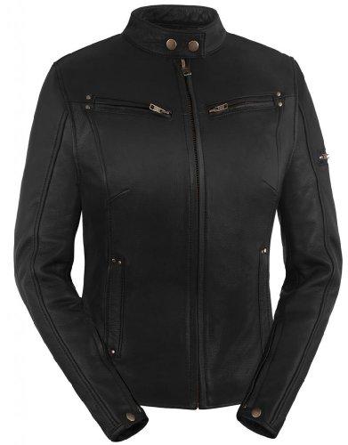 True Element Womens Sleek Vented Scooter Collar Leather Motorcycle Jacket (black, Medium)