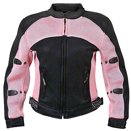 Xelement Cf-508 Womens Black/pink Mesh Armored Jacket - Large