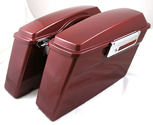 Complete Hard Saddlebags Fire Red W/ Locks,latch,seal Fit Harley Touring Bike