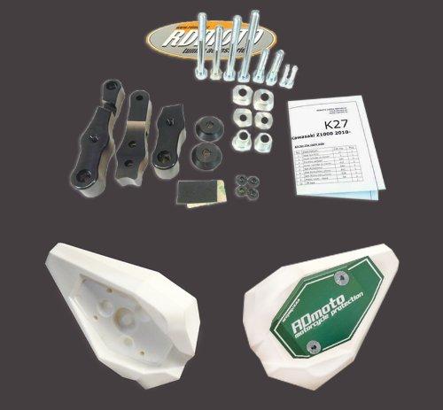 Kawasaki Z800 2013-2014 RD Moto Crash Frame Sliders Protectors With Full Mounting Kit SL01 WhtGrn