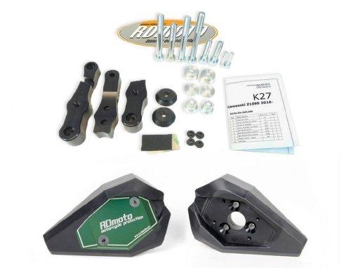 Kawasaki ZX6R-636 2013-2016 RD Moto Crash Frame Sliders Protectors With Full Mounting Kit SL01 BlkGrn