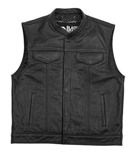 Black Brand Mens Leather Club Motorcycle Vest Black Large