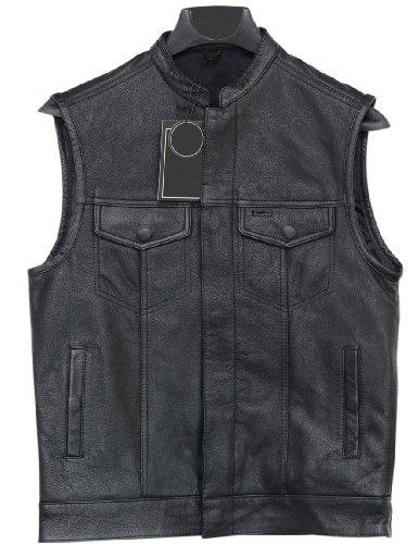 Mens Motorcycle Zipper Button Leather Vest Gun Pockets Mc Club Vest 1 Panel Back 6XL 64-66