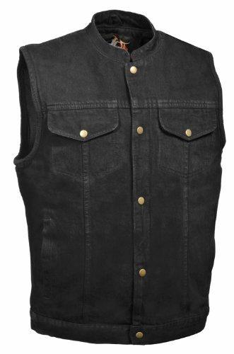Milwaukee Leather Mens Denim Club Style Vest Black XX-Large