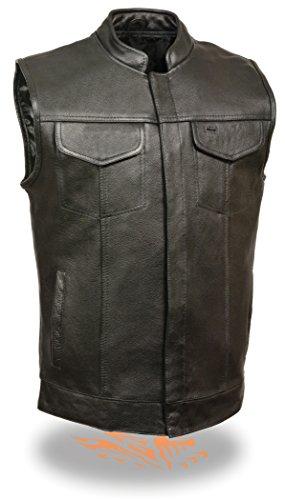 SOA Mens Basic Cowhide Leather Motorcycle Vest w 2 Inside Gun Pockets Open Collared Club Vest Large