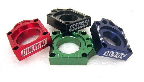 Outlaw Racing Billet Axle Blocks Blue KX250F KX450F KLX450R 03-11 KX125 KX250 03-11 RMZ250 RMZ450 03-11