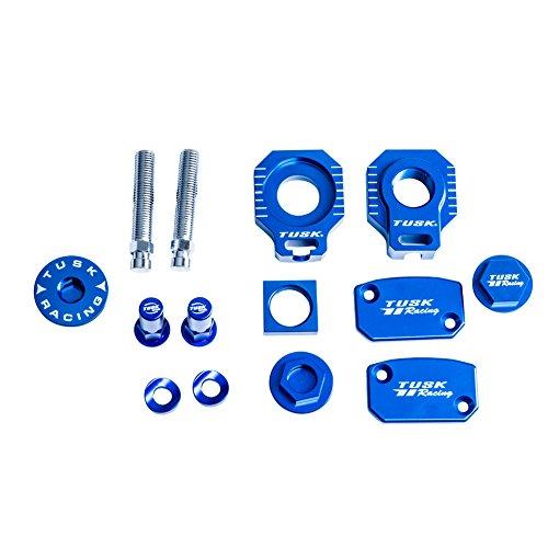 Tusk Billet Bling Kit Blue Axle Blocks Reservoir Cap oil plug and rim lock spacers – Fits Kawasaki KX125 2003–2005