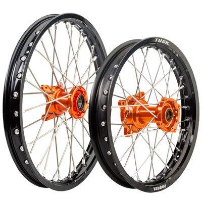 KTM 85 SX Husqvarna TC 85 Tusk IMPACT Complete FrontRear Wheel Kit 1714 Black RimSilver SpokeOrange Hub