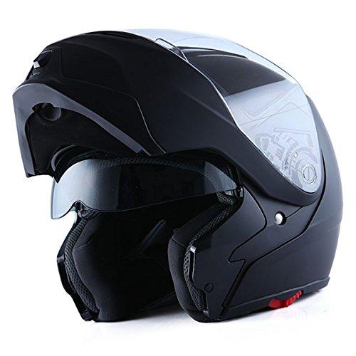 1Storm Motorcycle Street Bike ModularFlip up Dual VisorSun Shield Full Face Helmet MattBlack Medium