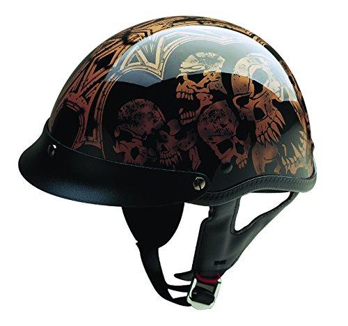 HCI HCI-100 Screaming Skulls Half Helmet with Visor Black and Gold Large