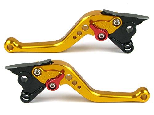 Emotion Performance-STD-Short-Series Motorcycle Clutch Brake Lever Set for Yamaha XSR 900 ABS 2016 - Red  Gold AdjusterLever