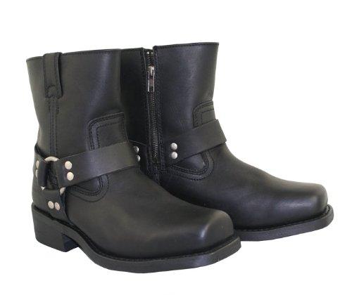 Xelement 2502 Womens Black Zipper Harness Motorcycle Boots - 7