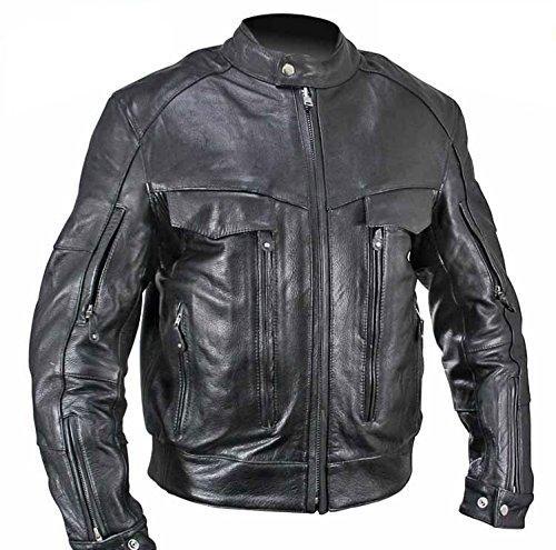 Xelement B4495 Bandit Mens Black Buffalo Leather Cruiser Motorcycle Jacket - X-Large