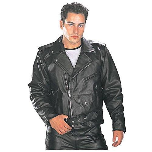 Xelement B7100 Classic Mens Black TOP GRADE Leather Motorcycle Biker Jacket - 3X-Large