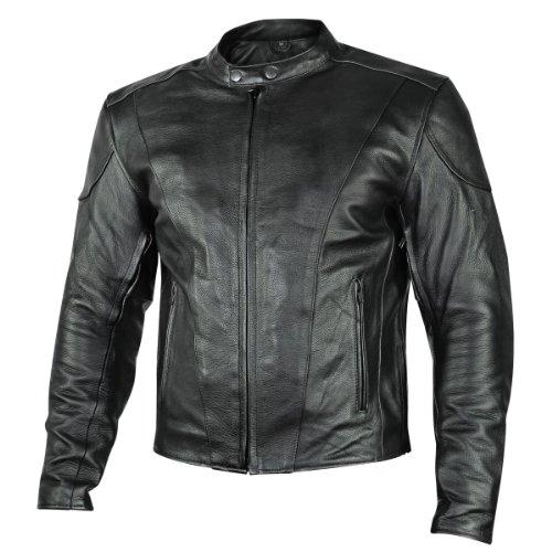 Xelement B7209 Renegade Mens Black Leather Motorcycle Jacket - Medium