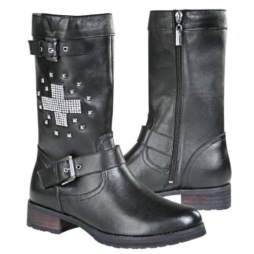 Xelement LU8596 Stud Cross Womens Black Leather Biker Boots - 8 12