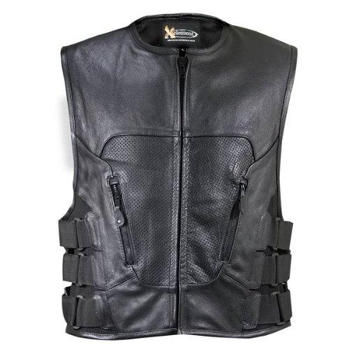 Xelement XS1468 Mens Black Leather Biker Vest - Large