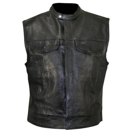 Xelement XS1937 Mens Black Leather Motorcycle Vest - 2X-Large