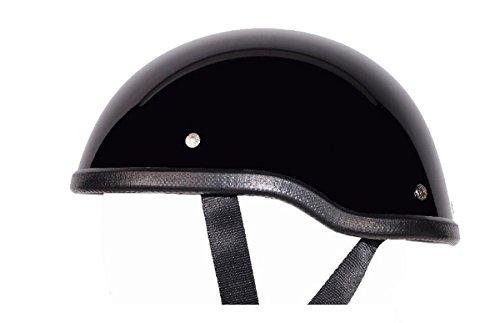 "Low Profile Novelty Harley Chopper Motorcycle Half Helmet Skull Cap Shiny Black (medium 22 1/4"" - 22 3/4"")"