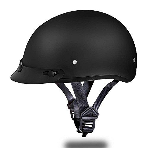 Motorcycle Half Helmet D.o.t. Daytona Skull Cap- Dull Black By Daytona - L