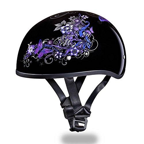 Motorcycle Half Helmet D.o.t. Daytona Skull Cap- W/ Butterfly By Daytona - L