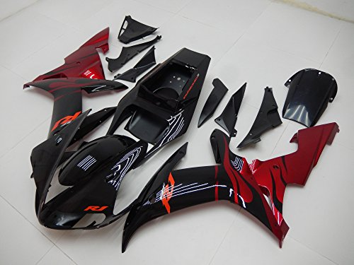 Glossy Black Red Injection Fairing Plastic Kit Fit for Yamaha YZF-R1 2002 2003