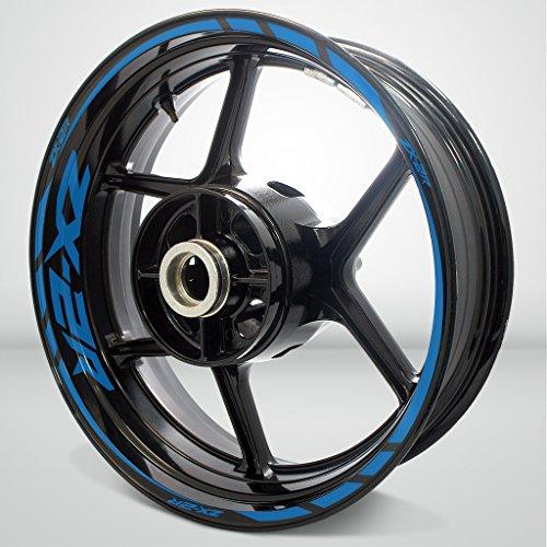Matte Blue Motorcycle Rim Wheel Decal Accessory Sticker for Kawasaki ZX2R