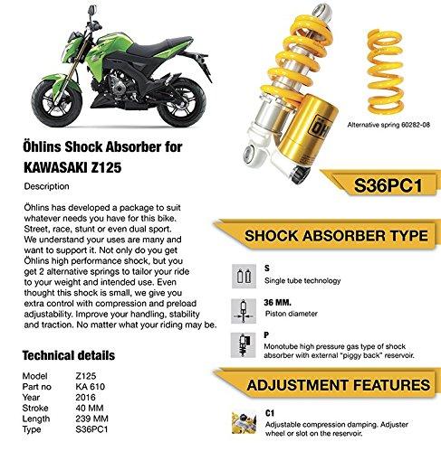 KA610 OHLINS SHOCK for Kawasaki Z125 Pro KA610