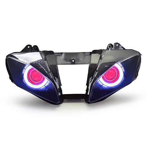KT LED Angel Eye Headlight Assembly for Yamaha R6 2006-2007 V1 Red Demon Eye