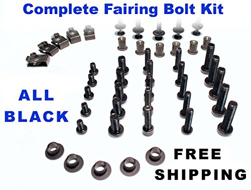 Black Complete Motorcycle Fairing Bolt Kit Yamaha YZF-R6 2006 - 2007 Body Screws Fasteners and Hardware