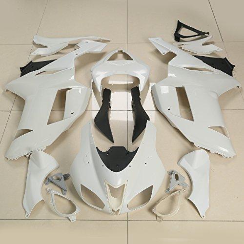 XMT-MOTO Fairing Body Set Kits For KAWASAKI Ninja ZX6R ZX-6R ZX600P 2007-2008Unpainted White1 Set