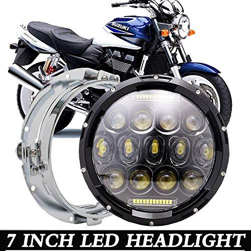 DOT Black 7inch LED Headlight HI LOW Beam DRL wBracket Mounting Ring For SUZUKI GSX1400 SV650 1000 BANDIT GSF650 1200 1250 Motorcycle Projector HeadlampWire Harness AdapterSILVER