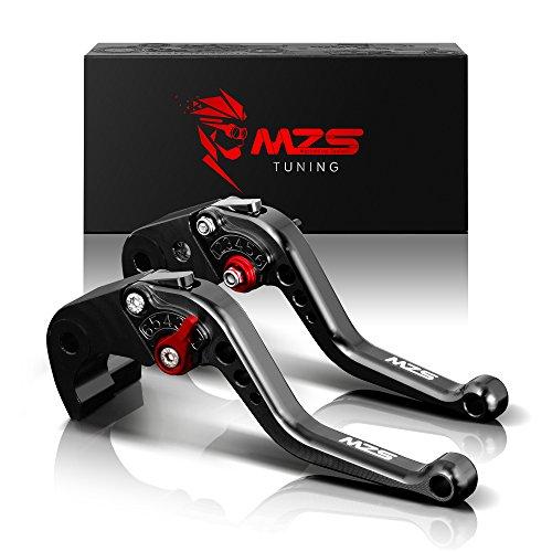 MZS Short Brake Clutch Levers for Suzuki GSF650 07-09GSX650F 08-15DL1000 V-STROM 02-17SV1000 SV1000S 03-07TL1000R 98-03GSF1200 01-06GSF1250 07-15GSX1250 10-16GSXR1300 99-07GSX1400 01-07 Black
