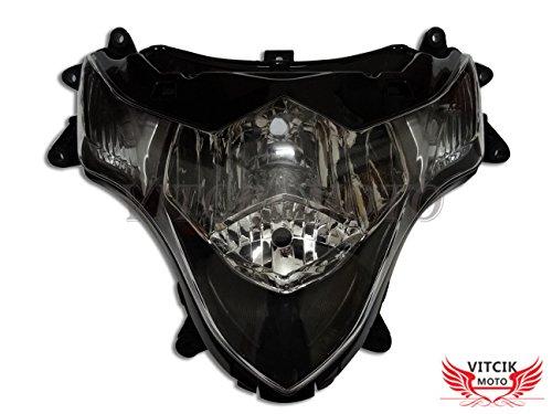 VITCIK Motorcycle Headlight Assembly for Suzuki GSXR 1000 K9 2009 2010 2011 2012 2013 2014 2015 2016 Head Light Lamp Assembly Kit Black