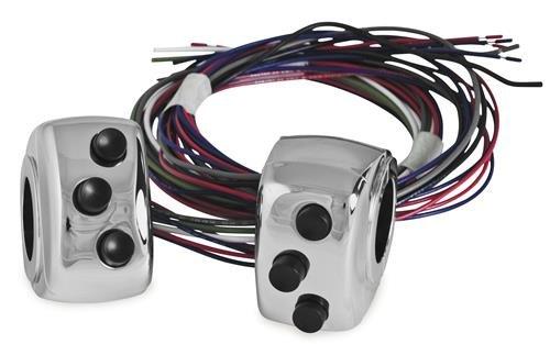 JayBrake J-271-3802 Handlebar Clamp Switch - Three Button - Chrome