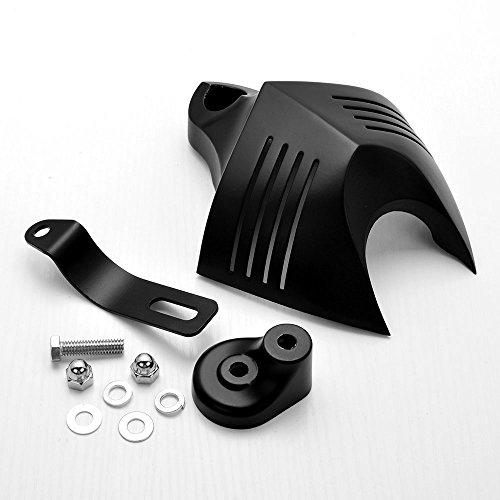 Black Twin Horn Cover V-Shield Cowbell Set For 1992-2014 Harley Dyna Softail Road King Street Electra Glide V-Rod