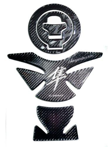 Suzuki Hayabusa GSX1300R 2000-2006 Carbon Fiber with Chrome logo Tank Protector  fuel gas cap cover trim Pad