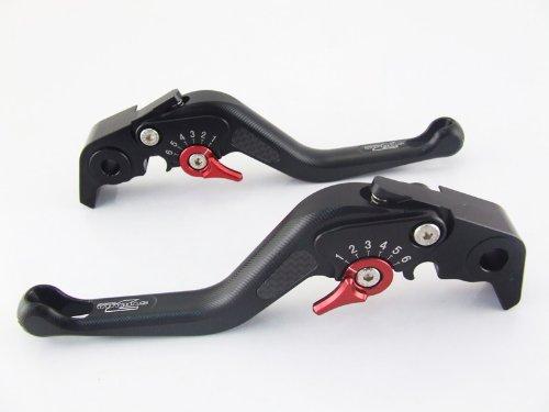 Strada 7 Racing Carbon Short Adjustable Levers Pair Black For Yamaha Yzf R1