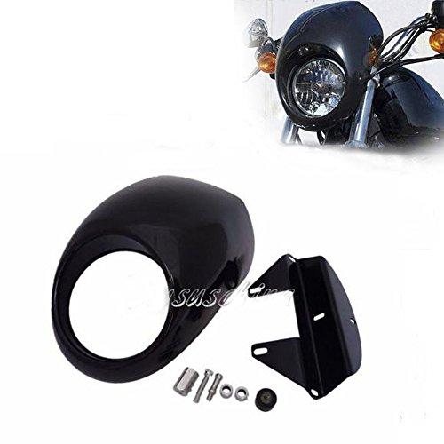 Motorcycle BLACK Cafe Fairing ABS Headlight Mask for 1987-2011 Harley Dyna FXR XL Racer Chopper 87-11 88 89 90 91 92 93 94 95 96 97 98 99 2000 2001 2002 2003 2004 2005 2006 2007 2008 2009 2010