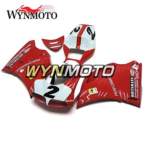 WYNMOTO ABS Injection Plastic Motorcycle Fairing Kit Red White For 996 748 916 998 Monoposto Single Seat 96 97 98 99 00 01 02 1996 - 2002 Sportbike Bodywork