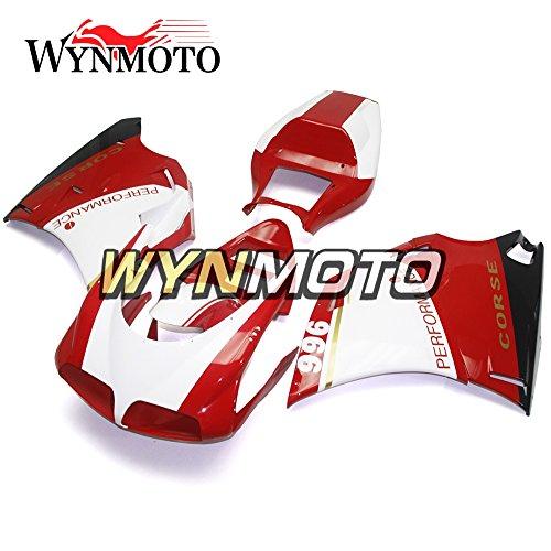 WYNMOTO ABS Injection Plastic Pearl White Red Motorcycle Fairing Kit For 996 748 916 998 Monoposto Single Seat 96 97 98 99 00 01 02 1996 - 2002 Sportbike Bodywork